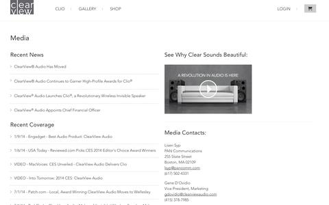 Screenshot of Press Page clearviewaudio.com - News and Media | Clearview Audio                           | ClearView Audio - captured Sept. 13, 2014