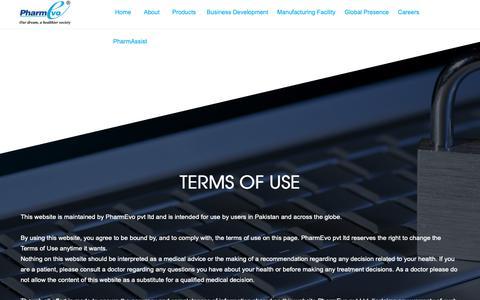 Screenshot of Terms Page pharmevo.biz - PharmEvo - captured Sept. 28, 2018