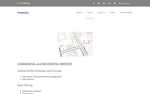 Screenshot of Services Page studio-eli.com - Services | Interiors - As-Builts - Space Planning - Color Consulting - captured Nov. 11, 2017