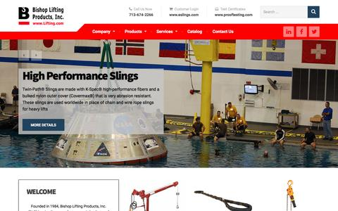 Screenshot of Home Page lifting.com - Bishop Lifting Products - Crane & Rigging Excellence Since 1984 - captured Nov. 22, 2016