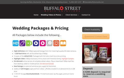 Screenshot of Pricing Page buffalomedia.net - Buffalo NY Wedding Video Prices - captured Feb. 8, 2016