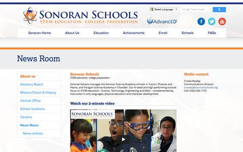 Screenshot of Press Page sonoranschools.org - News Room - captured Nov. 18, 2016