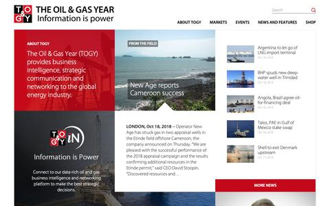 Screenshot of Home Page theoilandgasyear.com - The Oil & Gas Year (TOGY) - captured Oct. 18, 2018