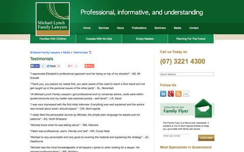 Screenshot of Testimonials Page michaellynchfamilylawyers.com.au - Testimonials « Michael Lynch Family Lawyers Brisbane - captured Oct. 27, 2014