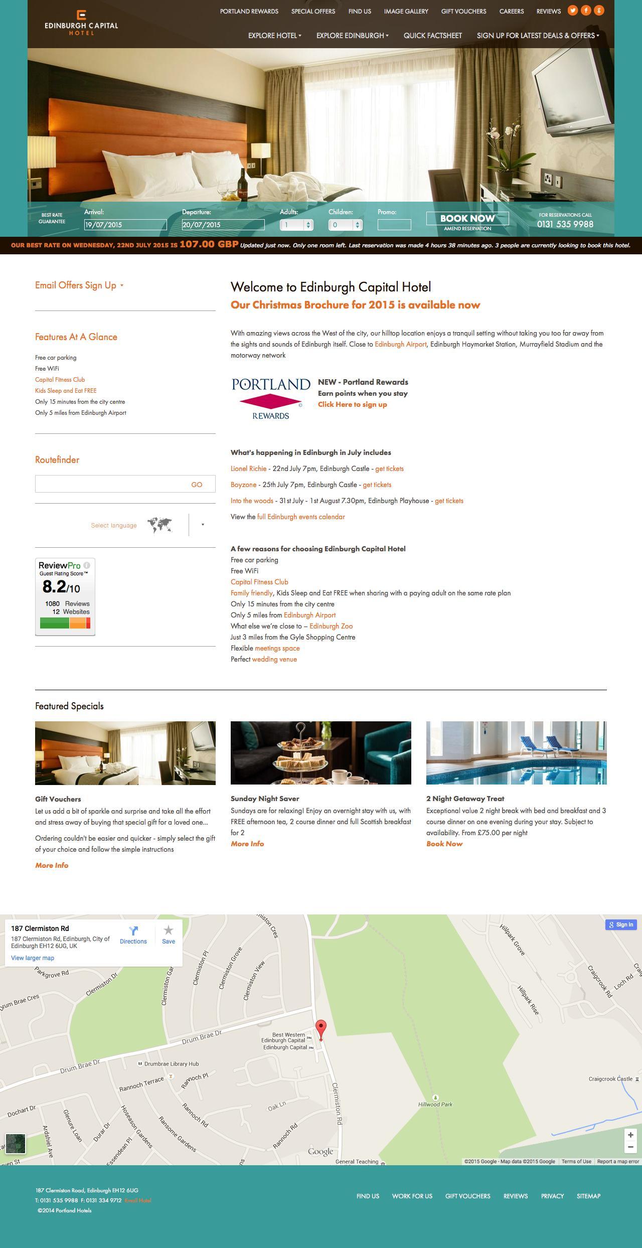 Screenshot of edinburghcapitalhotel.co.uk - Edinburgh hotels with parking and Wifi | Edinburgh hotel accommodation | cheap Edinburgh hotel deals - captured July 19, 2015