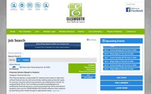 Screenshot of Jobs Page ellsworthchamber.com - Job Search - Ellsworth Area Chamber of Commerce, WI - captured March 10, 2016