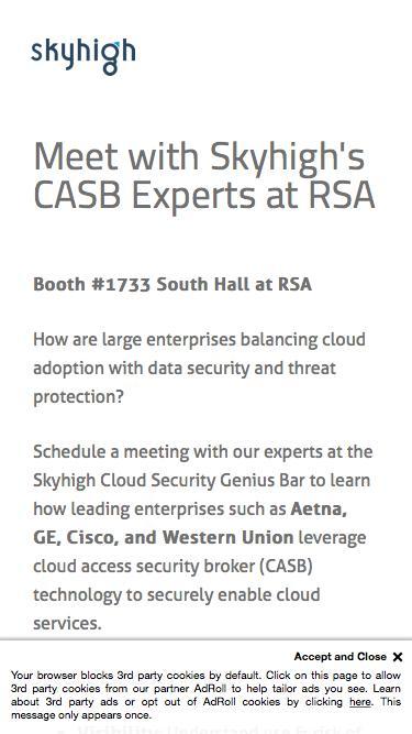 Skyhigh Cloud Security Genius Bar at RSA