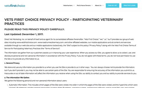 Screenshot of Privacy Page vetsfirstchoice.com - Privacy Policy - Vets First Choice - captured April 15, 2018