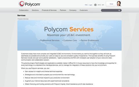 Screenshot of Services Page polycom.com - Services - Polycom, Inc. - captured Sept. 18, 2014