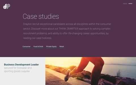 Screenshot of Case Studies Page draytonpartners.com - Case studies   Drayton Partners - Think Smarter - captured Nov. 24, 2016