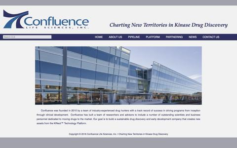 Screenshot of About Page confluencelifesciences.com - About Us | Confluence Life Sciences, Inc. | Charting New Territories in Kinase Drug Discovery - captured Dec. 6, 2016