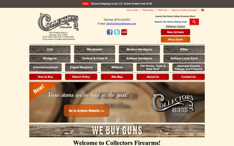 Screenshot of Home Page collectorsfirearms.com - Collectors Firearms - captured Aug. 27, 2016