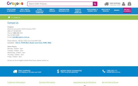 Screenshot of Contact Page crayons.com.au - Contact Us - captured Oct. 5, 2017
