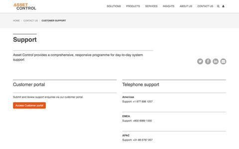 Screenshot of Support Page asset-control.com - Asset Control - Customer Support - captured July 30, 2018