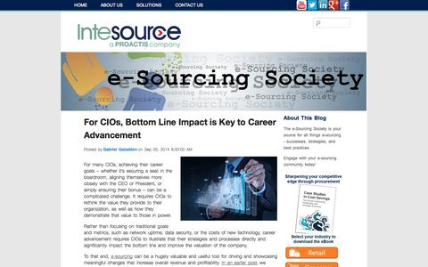 Screenshot of Blog intesource.com - Intesource's e-Sourcing Society | Strategic Sourcing Strategies and Best Practices - captured Sept. 26, 2014