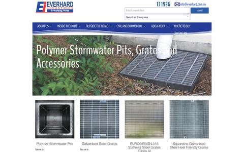 Screenshot of everhard.com.au - Polymer Stormwater Pits, Grates and Accessories Archives - Everhard - captured April 13, 2016