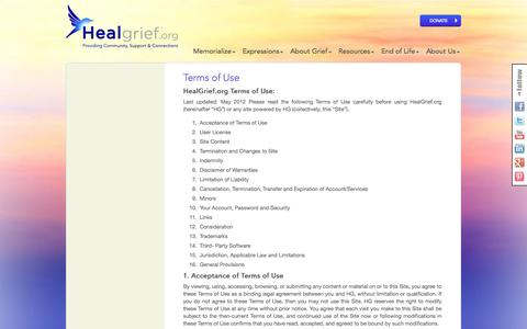 Screenshot of Terms Page healgrief.org - Virtual Memorials Terms and Conditions of Use   HealGrief   HealGrief - captured Sept. 29, 2014