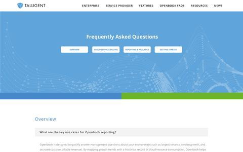 Screenshot of FAQ Page talligent.com - Talligent | OpenBook Enabling the Business of Cloud - captured Jan. 10, 2016