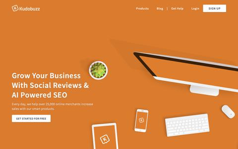 Screenshot of Home Page kudobuzz.com - Get 4x More Sales With Reviews ☆ SEO ☆ Trust ☆ Engagement – Collect Verified Business & Product Reviews ☆ SEM & SEO Tools ☆ Engage Your Customers ☆ Turn Trust Into Sales - captured Dec. 23, 2018