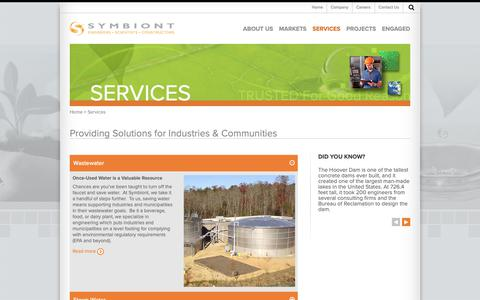 Screenshot of Services Page symbiontonline.com - Services | Symbiont Science, Engineering and Construction, Inc. - captured Oct. 19, 2018