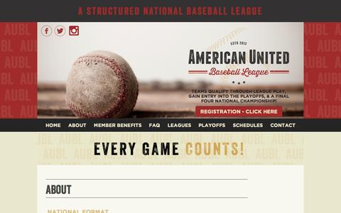 Screenshot of About Page aubl.com - About | American United Baseball League | AUBL - captured Sept. 30, 2014