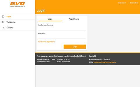 Screenshot of Login Page evo-energie.de - evo Kundenportal - captured June 9, 2016