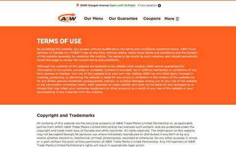 Screenshot of Terms Page aw.ca - A&W Canada - captured June 29, 2017