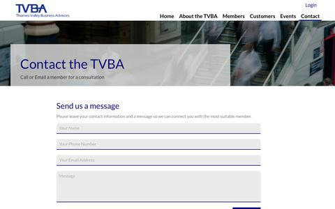 Screenshot of Contact Page tvba.co.uk - Contact Thames Valley Business Associates - captured Oct. 21, 2017