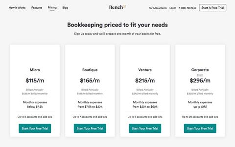 Screenshot of Pricing Page bench.co - Bookkeeping Prices | Bench - captured May 15, 2018