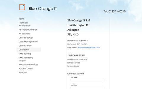 Screenshot of Contact Page blueorangeit.co.uk - Contact us - captured Oct. 5, 2014