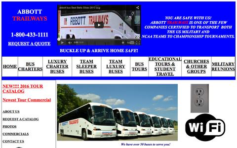 Screenshot of Home Page abbottbus.com - Abbott Trailways - Charter Bus Rentals for Virginia & North Carolina.  Custom Tour Packages USA & Canada - captured Feb. 5, 2016