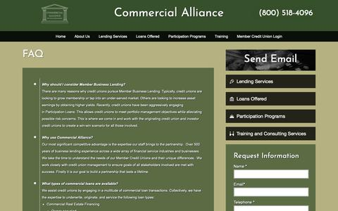 Screenshot of FAQ Page commercialalliance.com - FAQ – Commercial Alliance - captured Oct. 14, 2018
