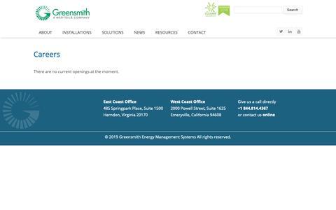 Screenshot of Jobs Page greensmithenergy.com - Careers | Greensmith Energy - captured Feb. 13, 2019