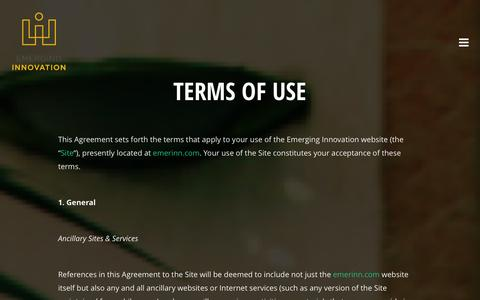 Screenshot of Terms Page emerinn.com - Terms of Use   Emerging Innovation - captured Oct. 2, 2014