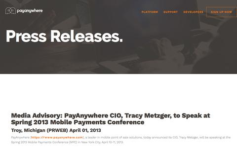Screenshot of Press Page payanywhere.com - Media Advisory: PayAnywhere CIO, Tracy Metzger, to Speak at Spring 2013 Mobile Payments Conference | PayAnywhere - captured Sept. 21, 2018