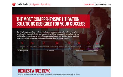 Screenshot of Landing Page lexisnexis.com - Litigation Solutions - captured Oct. 15, 2016