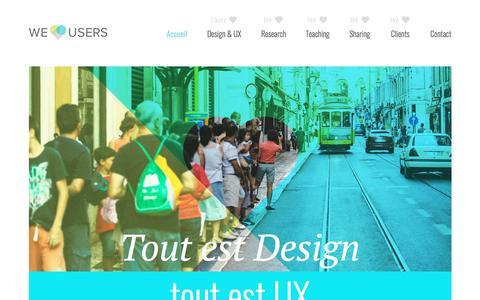 Screenshot of Home Page weloveusers.com - We Love Users - Recherche en design et UX (Expérience Utilisateur) - captured June 19, 2017