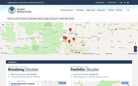 Screenshot of Locations Page bouldermedicalcenter.com - Locations - Boulder Medical Center - captured Aug. 3, 2018