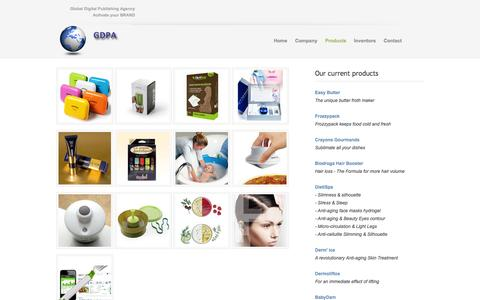 Screenshot of Products Page gdpa.us - Global Digital Publishing Agency - captured Sept. 26, 2014