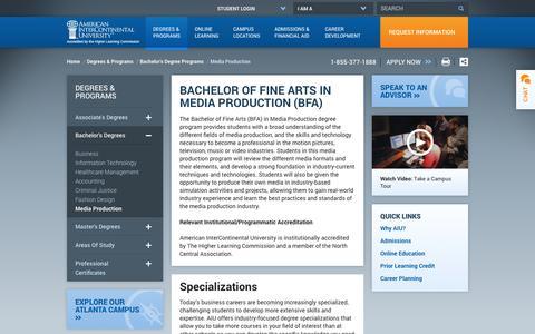 Screenshot of Press Page aiuniv.edu - Media Production Degree and Program | AIU - captured Sept. 19, 2014
