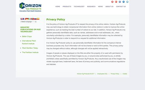 Screenshot of Privacy Page horizonag.com - Privacy Policy | Horizon Ag-Products - captured Aug. 23, 2017