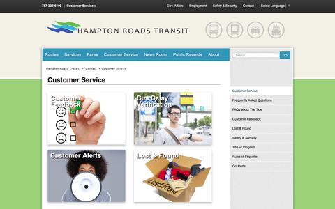 Screenshot of Support Page gohrt.com - Customer Service - Hampton Roads Transit - Bus, trolley, light rail, and ferry transportation, routes, schedules, rates and contacts. - captured July 14, 2017