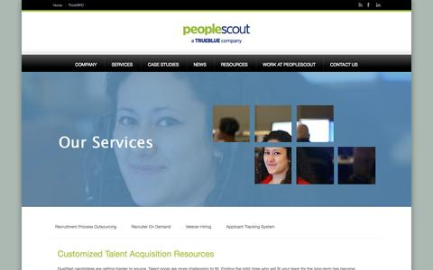 Screenshot of Services Page peoplescout.com - Talent Acquisition | PeopleScout - captured Sept. 29, 2014