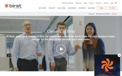 Screenshot of Jobs Page birst.com - Business Intelligence & Analytics Jobs - Birst Careers - captured Aug. 1, 2019