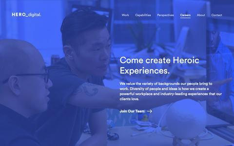 Screenshot of Jobs Page herodigital.com - Careers and Open Positions | Hero Digital - captured June 10, 2019