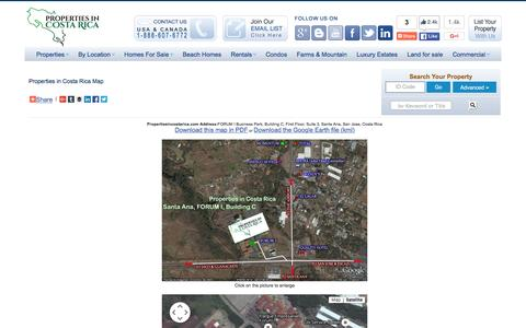 Screenshot of Maps & Directions Page propertiesincostarica.com - Properties in Costa Rica-real estate and investment company - captured Dec. 12, 2015