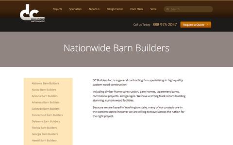 Screenshot of Locations Page dcbuilding.com - DC Builders :: Nationwide Barn Builders - captured Sept. 30, 2014