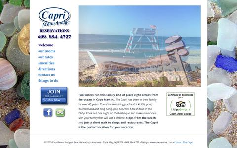 Screenshot of Home Page caprimotorlodge.com - Welcome - Cape May Motels - captured June 22, 2016