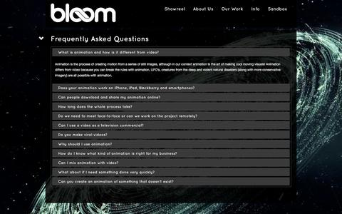 Screenshot of FAQ Page bloom-studio.com - Frequently Asked Questions | Bloom Studio - captured Oct. 27, 2014
