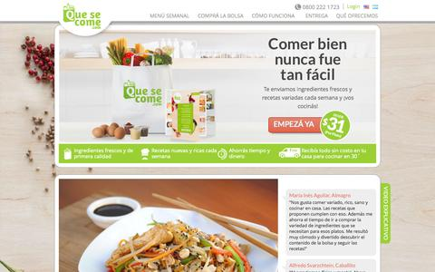 Screenshot of Home Page quesecome.com - Que se come | Simplemente hecho en casa - captured Sept. 22, 2014